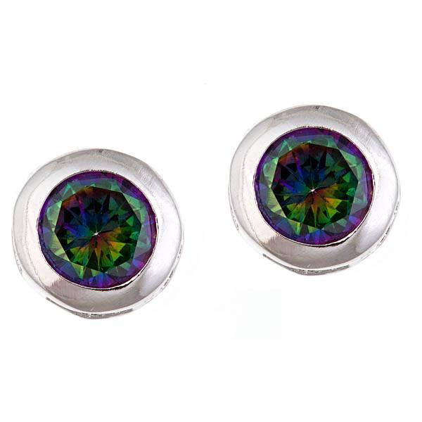 Sterling Silver Bezel Set Mystic Topaz Earrings - Sterling Forever