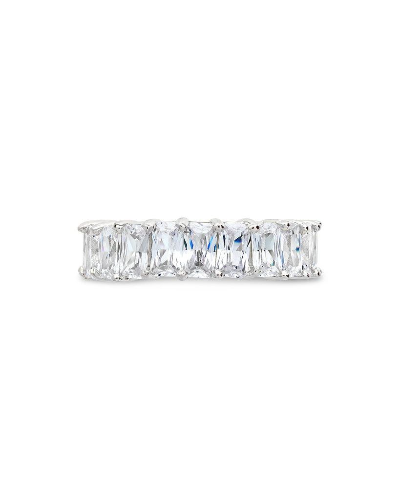 Sterling Silver Emerald Cut CZ Eternity Band - Sterling Forever