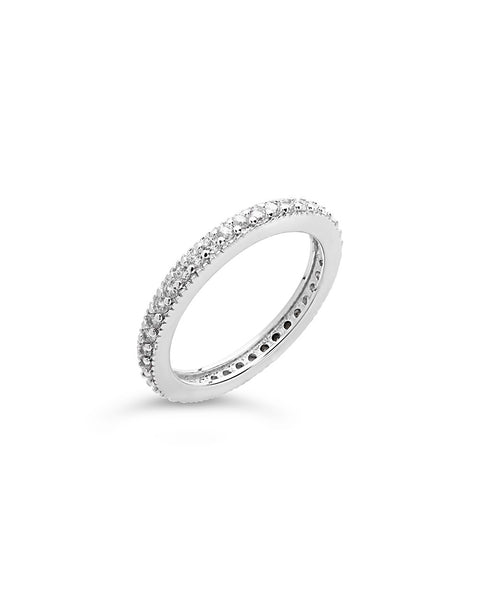 Sterling Silver Thin CZ Band Ring - Sterling Forever