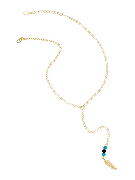Turquoise and Onyx Leaf Y Necklace