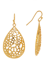 Gold Filigree Teardrop Dangle Earrings