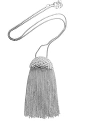 Silver Half-Moon Tassel Necklace