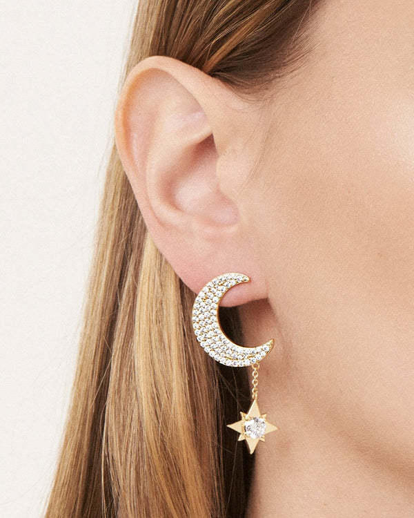 Moon & Dangle Star Studs Earring Sterling Forever