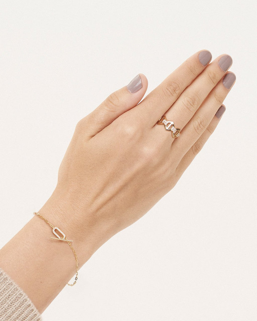 Hexagon Anchor Chain Ring Ring Sterling Forever