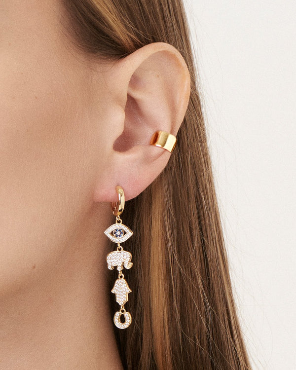 Charmed CZ Dangle Micro Hoops Earring Sterling Forever
