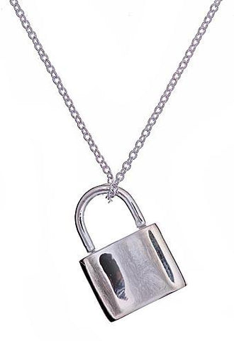 Sterling Silver Lock Pendant Necklace