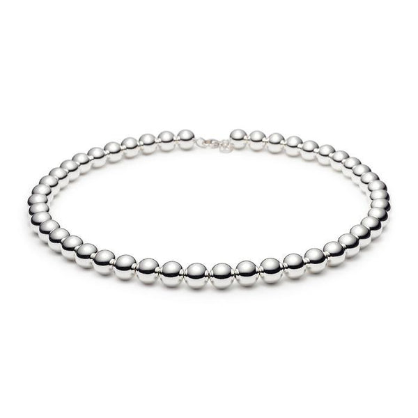 10mm Bead Necklace Sterling Silver