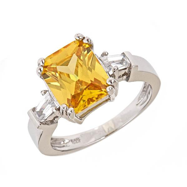 Sterling Silver Paris's Canary CZ Engagement Ring - Sterling Forever