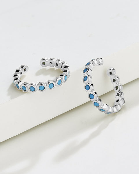 Delicate Bubble CZ Ear Cuff Set of 2 Earring Sterling Forever Silver Blue