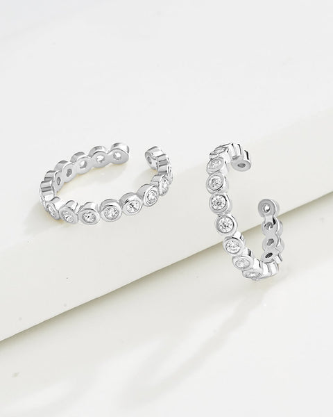 Delicate Bubble CZ Ear Cuff Set of 2 Earring Sterling Forever Silver Clear