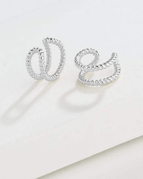 Braided Double Row Ear Cuff Set of 2 Earring Sterling Forever Silver