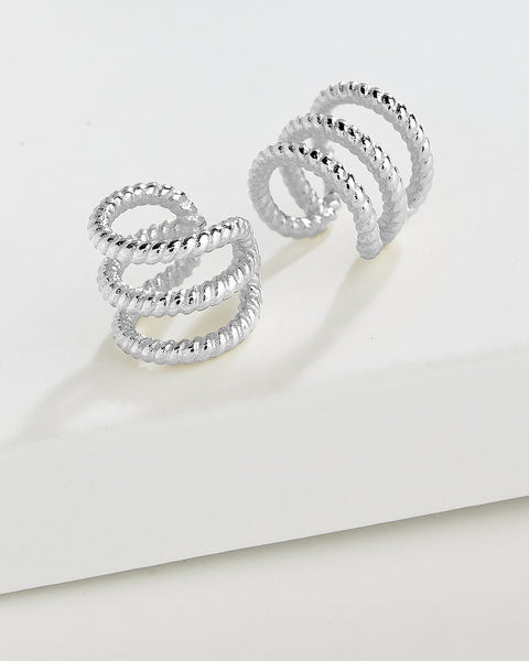 Braided Triple Row Ear Cuff Set of 2 Earring Sterling Forever Silver