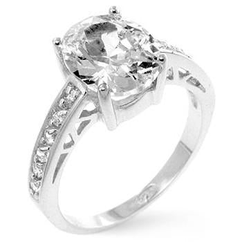 Sterling Silver Oval Engagement Ring - Sterling Forever