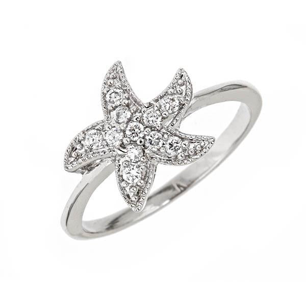 Sterling Silver CZ Starfish Ring