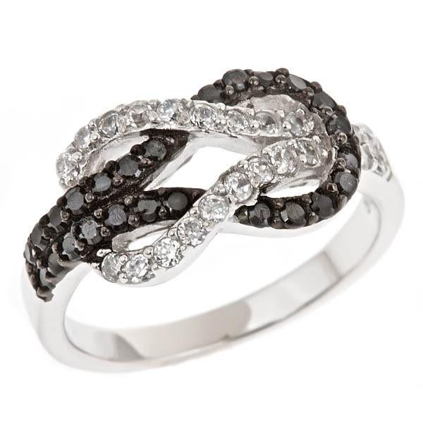 Sterling Silver Black and White Love Knot Ring - Sterling Forever