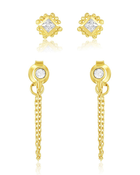 Beaded Diamond & Chain Drop Stud Earring Set Earring Sterling Forever Gold