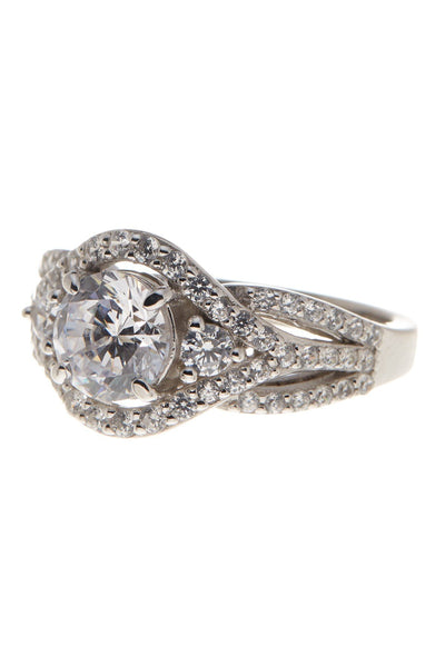 Sterling Silver Round CZ 3-Stone Ring