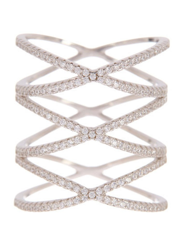 Sterling Silver Multi Criss Cross Ring - Sterling Forever