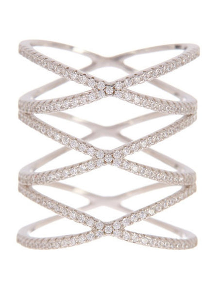 Sterling Silver Multi Criss Cross Ring