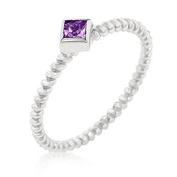 Sterling Silver Amethyst CZ Twist Band Ring