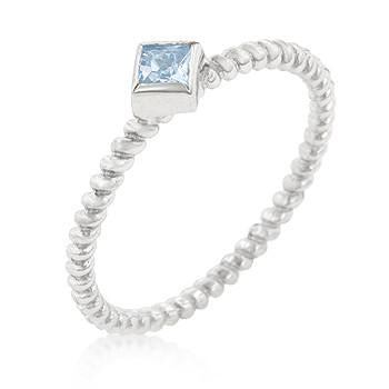 Sterling Silver Blue Topaz CZ Twist Band Ring