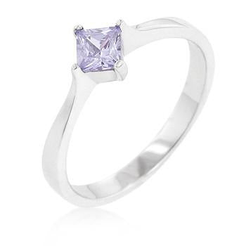 Sterling Silver Amethyst CZ Wedding Band Ring