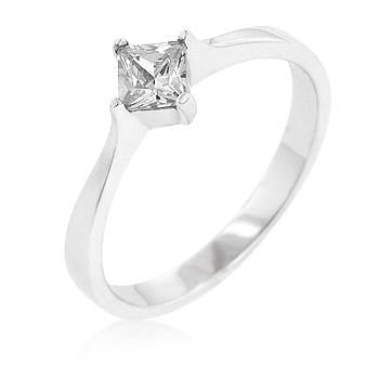 Sterling Silver Diamond CZ Princess Wedding Band Ring