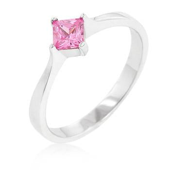 Sterling Silver Pink Sapphire CZ Wedding Band Ring