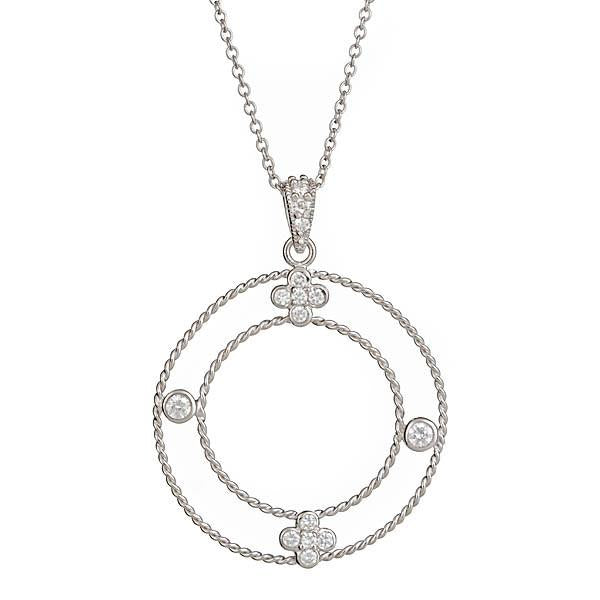 Sterling Silver Chanell's Cable Clover Necklace