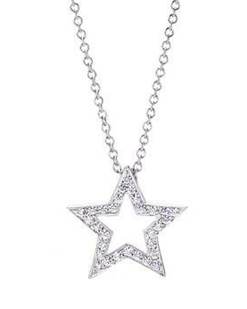 Sterling Silver Diamond CZ Star Pendant Necklace