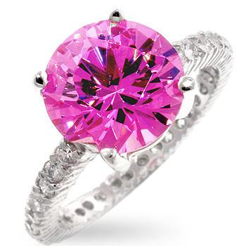 Sterling Silver Round Brilliant Cut Pink Sapphire CZ Ring