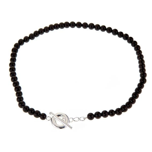 Sterling Silver Black Onyx Toggle Necklace