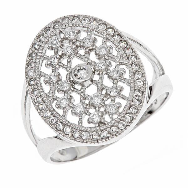Sterling Silver White CZ Lattice Ring