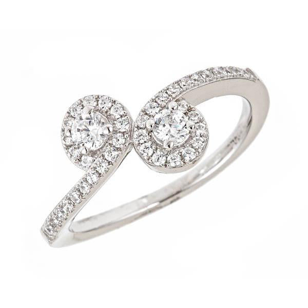 Sterling Silver CZ Swirl Ring