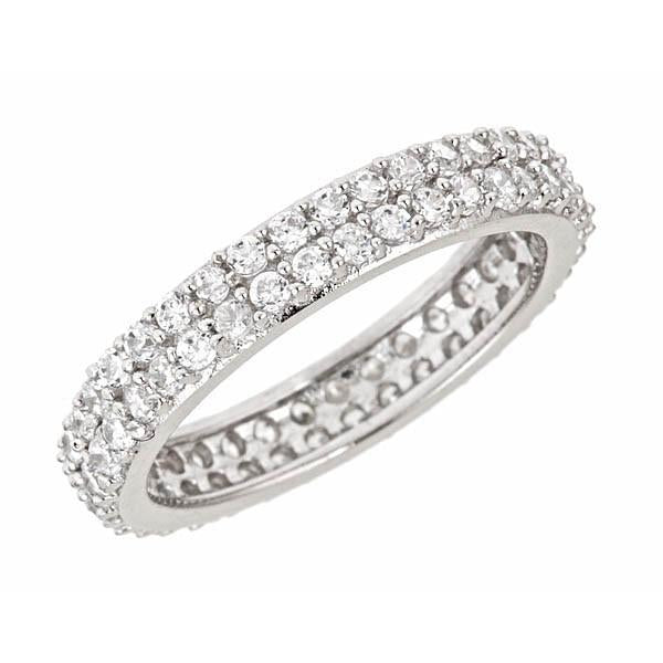 Sterling Silver Double Row CZ Band Ring