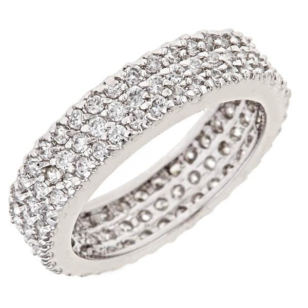 Sterling Silver Triple Row CZ Band Ring