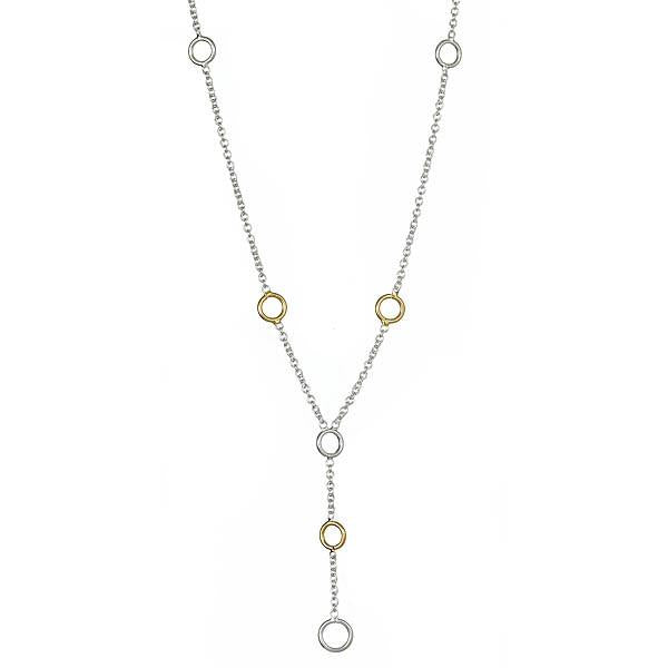 Sterling Silver Circle Link Lariat Necklace - Sterling Forever