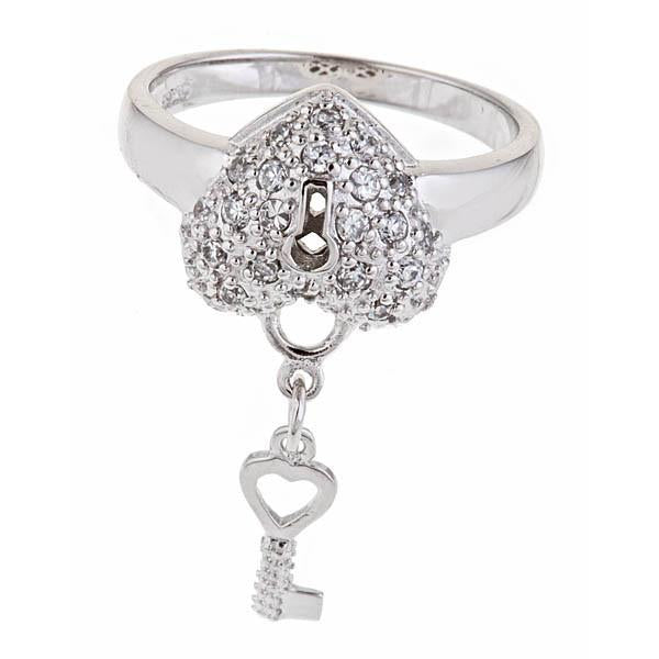 Sterling Silver Bali Style Pave Heart with Key Ring