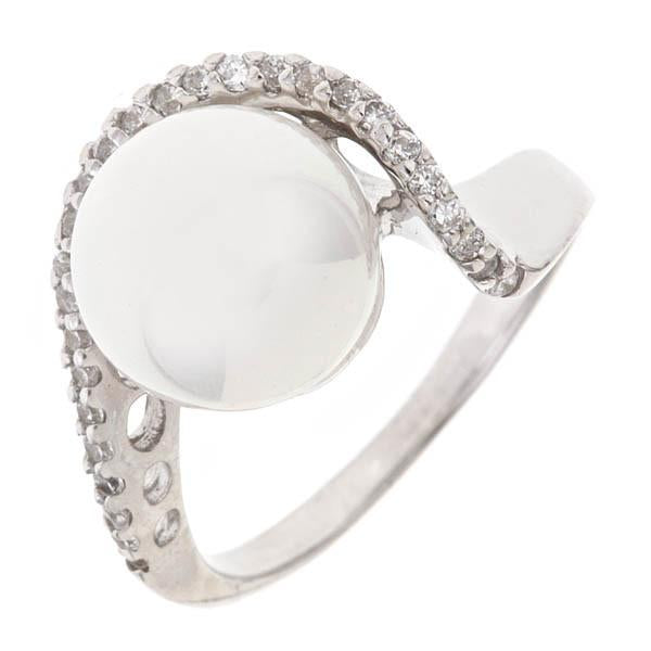 Sterling Silver Freshwater Pearl Cz Loop Ring