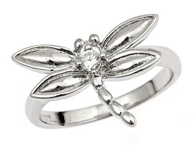 Sterling Silver Dragonfly CZ Ring
