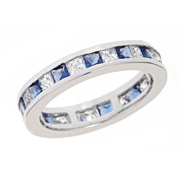 Sterling Silver Sapphire Band Celebration Ring - Sterling Forever