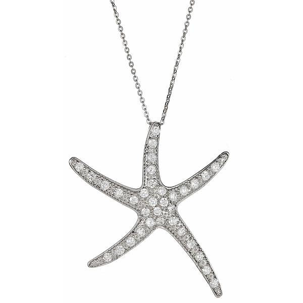 Sterling Silver CZ Starfish Necklace Necklace Sterling Forever