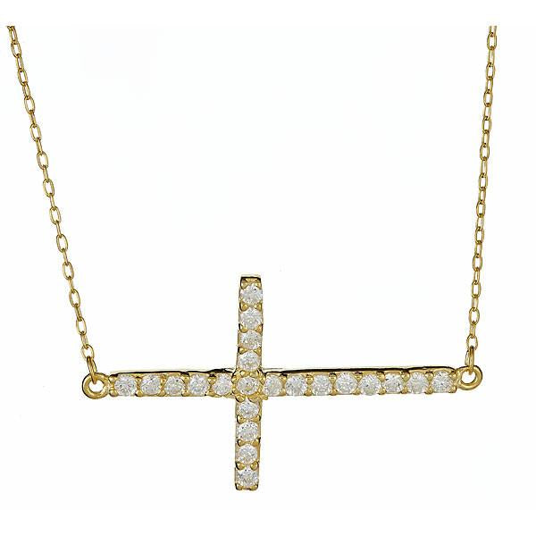 Sterling Silver Gold Vermeil Sideways CZ Cross Necklace
