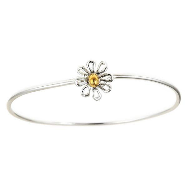 Sterling Silver Daisy Bangle Bracelet