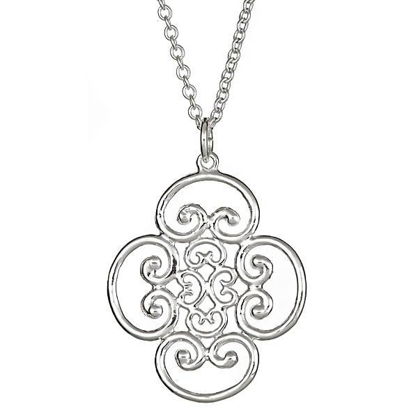 Sterling Silver Quadruple Scroll Pendant