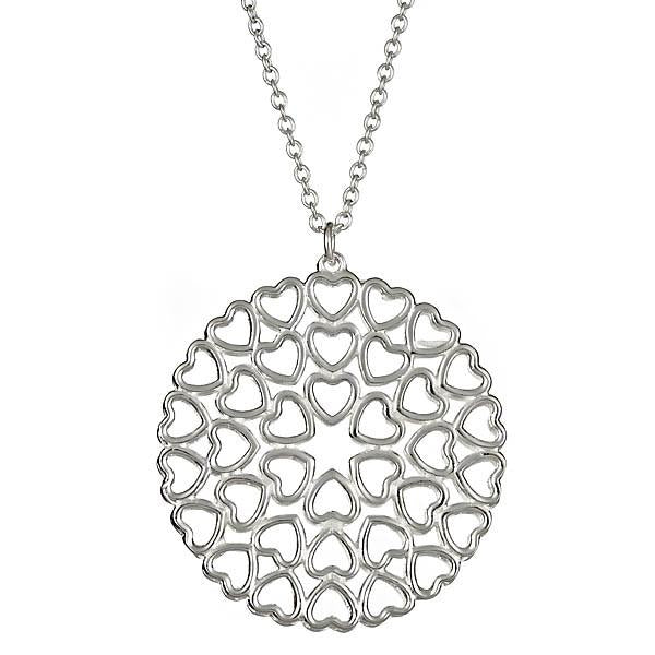 Sterling Silver Crown of Hearts Medallion Necklace
