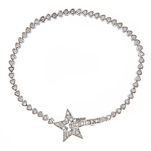 Sterling Silver Heart Tennis Bracelet with Star Clasp