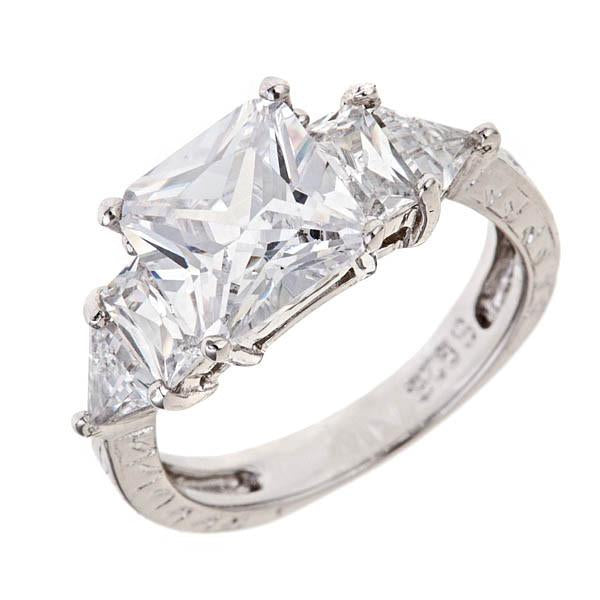 Sterling Silver Princess Cut Engraved Engagement Ring - Sterling Forever