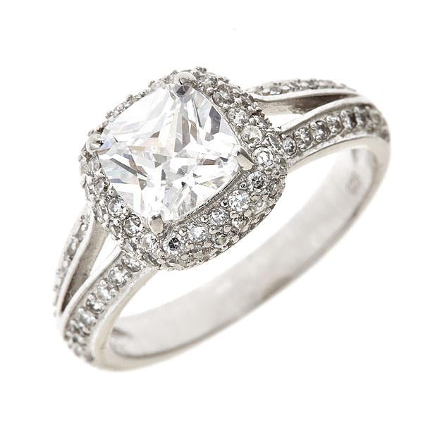 Sterling Silver Cushion Cut Engagement Ring - Sterling Forever