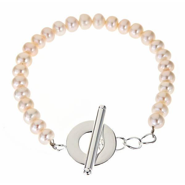 Sterling Silver Pearl Bracelet with Toggle